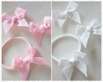 Grosgrain bow headband - pink bow headband - white bow headband - pink bow clip - white bow clip - nylon headband - cute baby headband