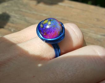 Galaxy Blue Wire Wrapped Ring