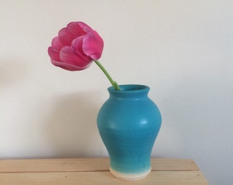 Bud Vase, Handmade Ceramic Vase, Pottery Vase, Turquoise Glaze