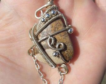 Landscape jasper, wire wrapped pendant, elegant necklace
