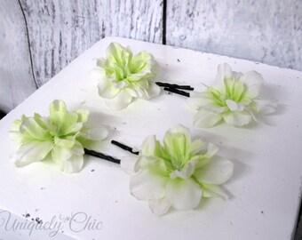 White green flower hair pins, Green wedding hair accessories, Bridesmaid hair pin, flower girl hair pin, prom hair, wedding accessories,