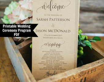 Printable Wedding Program Template, Rustic Ceremony Wedding Program, Instant Download, PDF
