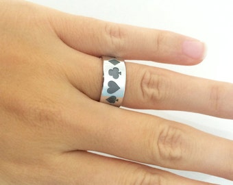 Playing Cards Silver Band Ring, Playing Cards Ring, Playing Cards Jewelry, Wedding Band Ring, Silver Band Ring, Gift for Man, Silver Ring