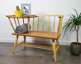 SOLD  Ercol Style Bench/Chair/Seat Telephone Table - Retro - Refinished