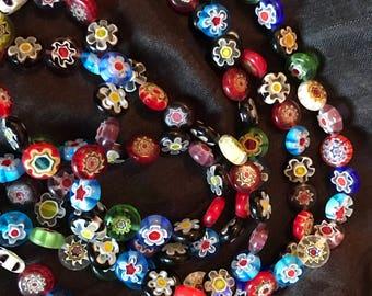 Millefiori beads necklace
