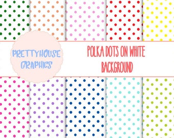 Colored Polka Dots on White Background Paper pack