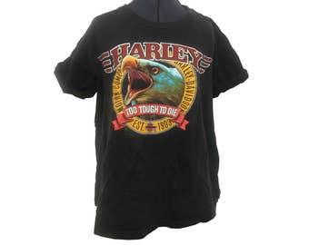 """Vintage Harley Davidson T Shirt """" Too Tough To Die"""" Women Size Medium Holoubek Brand"""