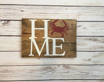 Wooden Home Sign Maryland Crab
