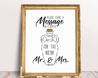 Please Leave A Message In A Bottle For The New Mr And Mrs, Guestbook Bottle, Guest Book Bottle, Guestbook Sign, Message In A Bottle Sign