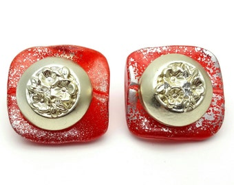 Red and Silver tone Square Large Stud Earrings Vintage from the 80s Plastic with paint speckles