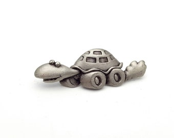Turtle with Wheels Pewter Brooch Silver tone Metal Vintage from the 90s marked JJ Going Fast Slow Gift for boy girl
