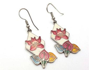 Orchid Enamel on Silver Tone Metal Drop Earrings Vintage Pendant Dangle White Pink Flowers Earrings