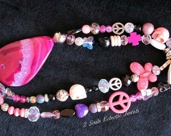 Pink Agate Drop Pendant Bohemian Gypsy One of a Kind Statement Necklace Semi-precious Gemstones Chinese Crystals Purple Heart Skull Peace