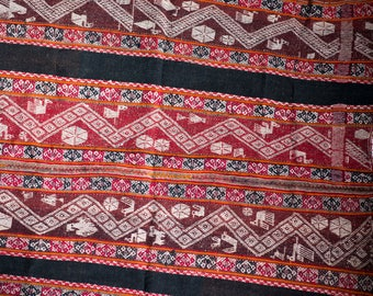 Peruvian woven textile/manta/cloth maroon,earth tones, natural, blacks