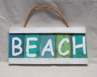 """Rustic Hand Painted,  Pallet Wood """"Beach"""" Sign"""