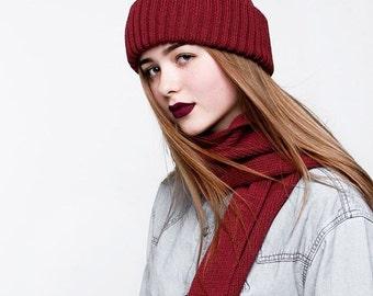 Red beanie, maroon beanie hat, red hat women, red merino beanie