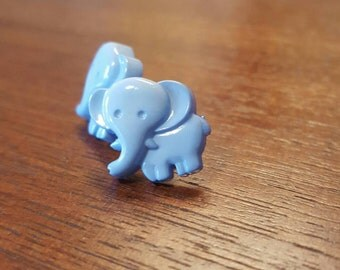 Baby Blue Elephant Stud Earrings