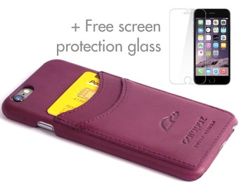 iPhone 6 Leather Case - Comes with Protection Glass - iPhone 6 Leather Cover- iPhone 6 Slim Case - Cards - Genuine Leather - PURPLE