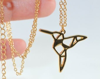 18k Yellow Gold Origami Hummingbird Necklace, Hummingbird Jewelry, Bird Necklace, Animal Necklace, Dainty Necklace, Geometric Necklace