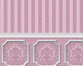 Dollhouse Miniature Wallpaper Damask Stripe Purple Orchid Wainscot