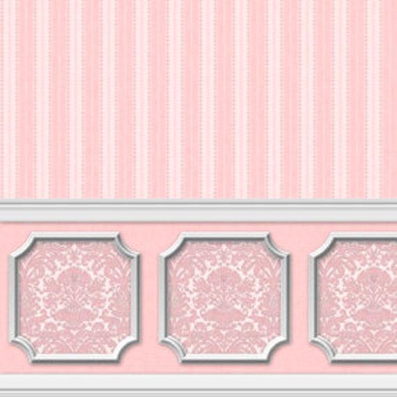 Dollhouse Miniature Wallpaper Damask Stripe Pink Quartz