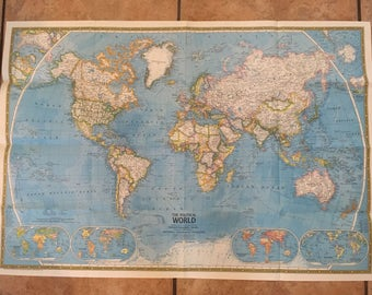 Vintage The Physical & The Political Double Sided Map • National Geographic Society (1975)