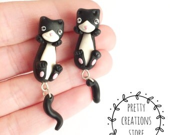 Earrings Cat Front back, Cute cat black and white, Front back earrings, Handmade Jewelry, Earrings, Cat Kitten Cat earrings, Cat Miniatures