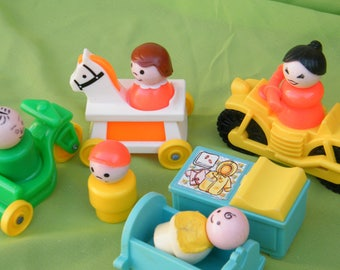1970's Fisher Price Little People Family of Five And Five Accessory Toys