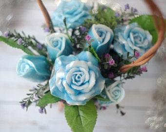 Handmade Soap Flower Bouquet, Flower Arrangement, Mothers Day Gift Ideas, Soap Roses, Flower Basket, Valentines Day Gift For Her, Home Decor