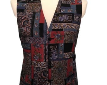 St Michael 42 Regular Vintage Multicoloured Patterned Waistcoat.
