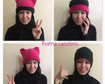 4in1 Fleece Dark Pink Black Pussyhat, Nasty Woman Pussycat Pussy Cat Ears Hat, Womens Women's March Beanie Hat, Costume Cosplay Dress Up