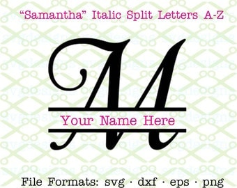 Fancy Split Letter Monogram SVG, Dxf, Eps, Png; Cursive Italic Split Letter Monogram Svg Cricut & Silhouette, Split Monogram SVG