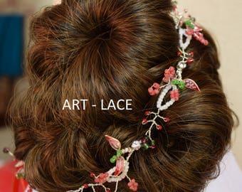 Wedding hair accessories hair piece hair vine Bridal wreath weddings hair band Red white resin wire hair flowers Chinese Japanese bridal