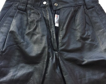 Vintage Wilsons Leather Pants black 1980s  high waisted women's size 6