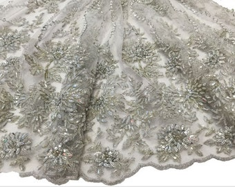 Luxurious beaded lace fabric,fashionable dress lace fabric,3d lace fabric,evening dress lace fabric,bridal lace fabric,embroidery lace