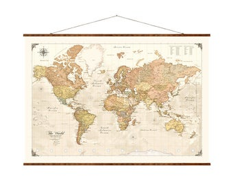 "Modern World Map, 31""x44"", Canvas Map, modern map, map on canvas, modern day map, map of the world, pull down world map,"