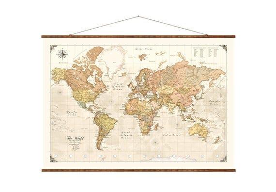 Modern World Map Canvas. Like this item  Modern World Map 31x44 Canvas modern map