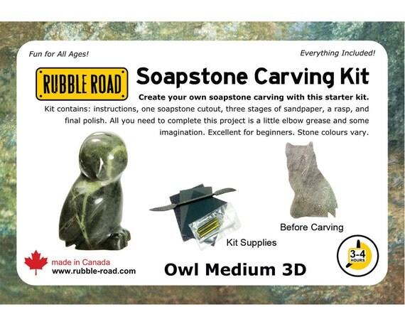 Owl soapstone kit medium from rubbleroadsoapstone on