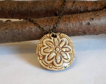 Handmade, ceramic, circle pendant with chain