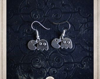 PACMAN and Ghost, pac - man. pac man earrings in silver BOA062