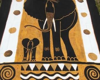 Batik - Tagesdecke\ Wandbehang - Elefant