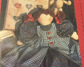 Vintage Country Stitches Abby doll, bunny and mini quilt pattern, This is the Way we Wash our Clothes