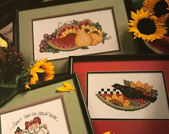 Vintage Leisure Arts Sunflowers and Snickerdoodles counted cross stitch leaflet 2885