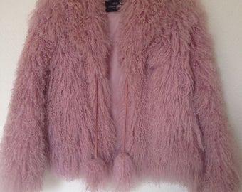 Baby Pink Mongolian Lambs Wool Jacket