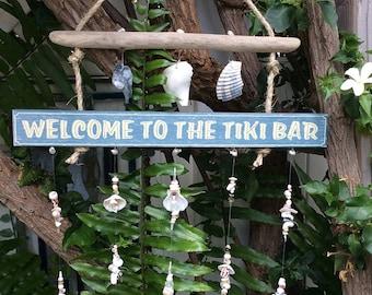 Tiki Bar (Weathered Marine Blue) Wooden sign/ Windchime/ Mobile
