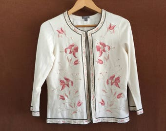 Soft, embroidered sweater by Ann Taylor