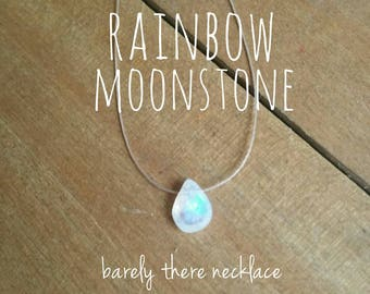 Rainbow Moonstone Necklace - Simple Dainty Necklace, Floating Gemstone, Barely There Necklace, Irridecent Gemstone, Tiny Teardrop Necklace