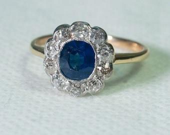 Victorian Sapphire and Diamond Halo Ring
