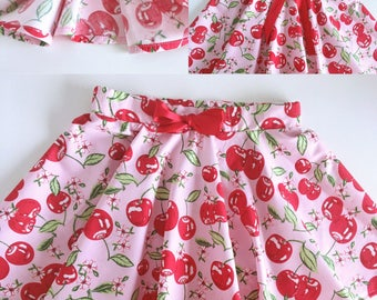 Pinup cherry skirt - girl full circle skirt - sizes newborn to 16 - pink and red