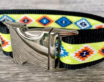 "Yellow Aztec Dog Collar, 1"" Wide Dog Collar, Large Dog Collar, Bright Color Dog Collar, Southwest Dog Collar"